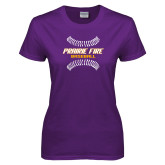 Ladies Purple T Shirt-Prairie Fire Baseball w/Seams