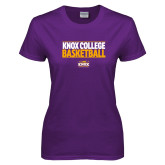 Ladies Purple T Shirt-Knox College Basketball Stacked