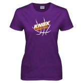 Ladies Purple T Shirt-Knox Basketball w/Ball