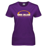 Ladies Purple T Shirt-Knox College Football Horizontal