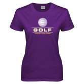 Ladies Purple T Shirt-Knox College Golf Stacked w/Ball