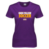 Ladies Purple T Shirt-Knox College Soccer Stacked