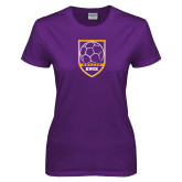 Ladies Purple T Shirt-Knox Soccer Shield