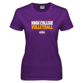Ladies Purple T Shirt-Knox College Volleyball Stacked
