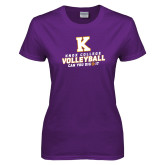 Ladies Purple T Shirt-Knox College Volleyball Can You Dig It