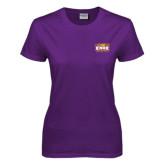 Ladies Purple T Shirt-Prairie Fire Logo