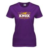 Ladies Purple T Shirt-Knox College Logo