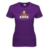 Ladies Purple T Shirt-Knox Mascot Logo