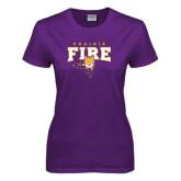 Ladies Purple T Shirt-Praire Fire Mascot Logo