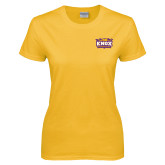 Ladies Gold T Shirt-Prairie Fire Logo