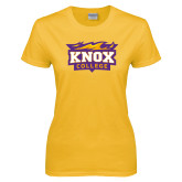Ladies Gold T Shirt-Knox College Logo