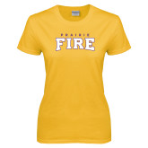 Ladies Gold T Shirt-Prairie Fire