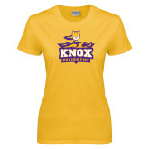 Ladies Gold T Shirt-Knox Mascot Logo