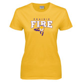 Ladies Gold T Shirt-Praire Fire Mascot Logo