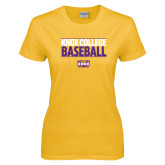 Ladies Gold T Shirt-Knox College Baseball Stacked