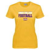 Ladies Gold T Shirt-Knox College Football Stacked