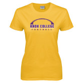 Ladies Gold T Shirt-Knox College Football Horizontal