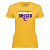 Ladies Gold T Shirt-Knox College Soccer Stacked