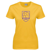 Ladies Gold T Shirt-Knox Soccer Shield