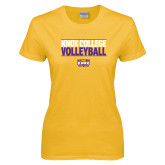Ladies Gold T Shirt-Knox College Volleyball Stacked