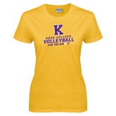 Ladies Gold T Shirt-Knox College Volleyball Can You Dig It