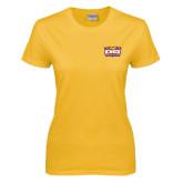 Ladies Gold T Shirt-Prairie Fire Logo
