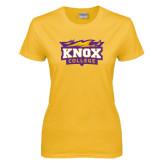 Ladies Gold T Shirt-Knox College Logo