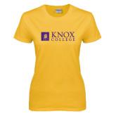 Ladies Gold T Shirt-Institutional Logo