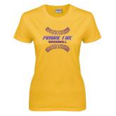 Ladies Gold T Shirt-Prairie Fire Baseball w/Seams