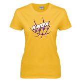 Ladies Gold T Shirt-Knox Basketball w/Ball