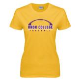 Ladies Gold T Shirt-Knox College Football Horizontal