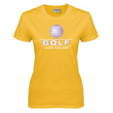 Ladies Gold T Shirt-Knox College Golf Stacked w/Ball