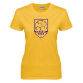 Ladies Gold T Shirt-Knox Soccer Shield