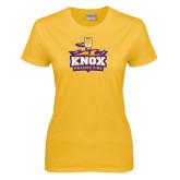 Ladies Gold T Shirt-Knox Mascot Logo