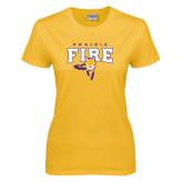Ladies Gold T Shirt-Praire Fire Mascot Logo