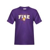 Youth Purple T Shirt-Praire Fire Mascot Logo
