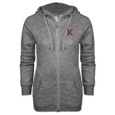 ENZA Ladies Black Marled Full Zip Hoodie-K