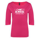 Ladies Dark Fuchsia Perfect Weight 3/4 Sleeve Tee-Prairie Fire Logo