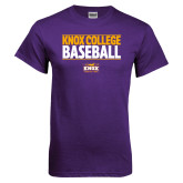 Purple T Shirt-Knox College Baseball Stacked