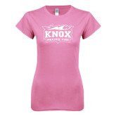 Next Level Ladies SoftStyle Junior Fitted Pink Tee-Prairie Fire Logo