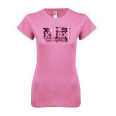 Next Level Ladies SoftStyle Junior Fitted Pink Tee-Prairie Fire Logo Foil
