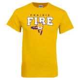 Gold T Shirt-Praire Fire Mascot Logo