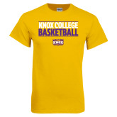 Gold T Shirt-Knox College Basketball Stacked