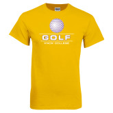 Gold T Shirt-Knox College Golf Stacked w/Ball