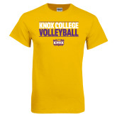 Gold T Shirt-Knox College Volleyball Stacked