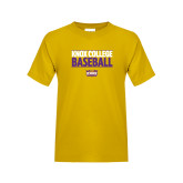 Youth Gold T Shirt-Knox College Baseball Stacked