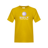 Youth Gold T Shirt-Knox College Golf Stacked w/Ball