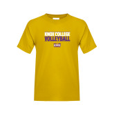 Youth Gold T Shirt-Knox College Volleyball Stacked