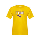 Youth Gold T Shirt-Praire Fire Mascot Logo