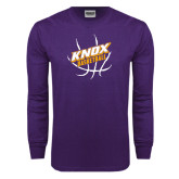 Purple Long Sleeve T Shirt-Knox Basketball w/Ball